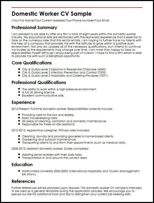 Domestic Worker Cv Sample Myperfectcv Resume Job Resume Samples Cv Template