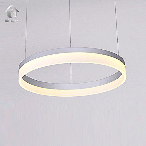Unitary BRAND Modern LED Acrylic Shade Aluminum Ring Pendant Light Warm White Max 25W Painted Finish