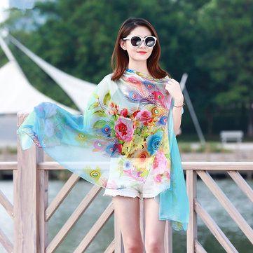 Women Summer Chiffon Beach Shawl Scarves Printing Thin Sunscreen Beach Shawls at Banggood