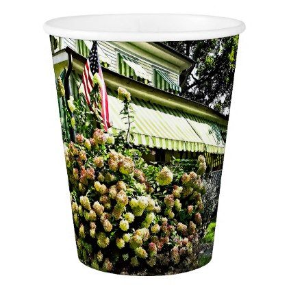 #White Hydrangeas By Green Striped Awning Paper Cup - #floral #gifts #flower #flowers