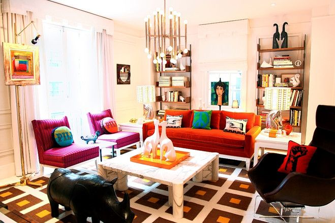 So colorful ... I love it.: Decor, Living Rooms, Design Interiors, California Home, Interiors Design, Interiordesign, House, Rooms Colors, Jonathan Adler