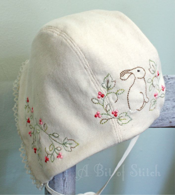 """Knit baby bonnet with """"Sweet Bunnies"""" designs - pattern by Alicia Paulson (Posie Rosy Little Things)"""