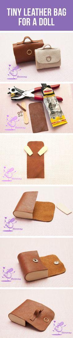 How to make tiny leather bag for a doll / Делаем кожаный портфель для куклы