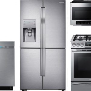 Medium image of 4 piece stainless steel kitchen appliance package samsung