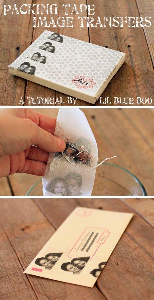 image transfers using packaging tape...so fun!