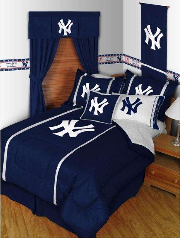 Yankees Sidelines Bedroom Ensemble Splash The Room With New York Yankees  Pride! This Handsome Bedroom Set Features The Baseball Team Logo In Team  Colors.
