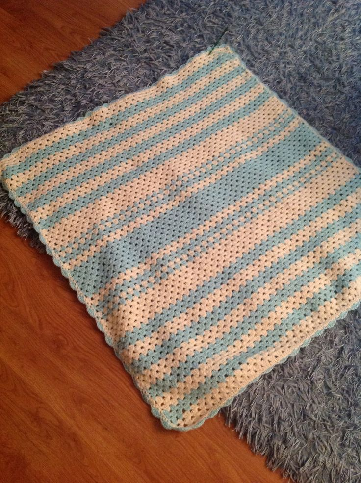 First ever baby blanket made. Granny stripe with shell border