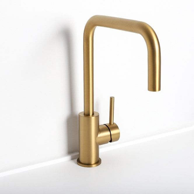 Durable Single Handle Kitchen Faucet Cold Water Wall Mounted Brass Taps Natural