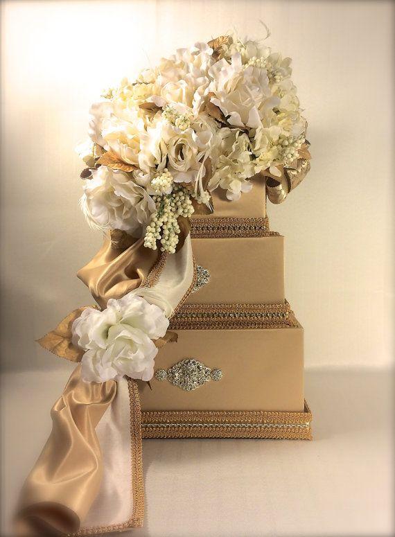 Wedding Card Box Gold Ivory Diamond Wedding Card by WrapsodyandInk
