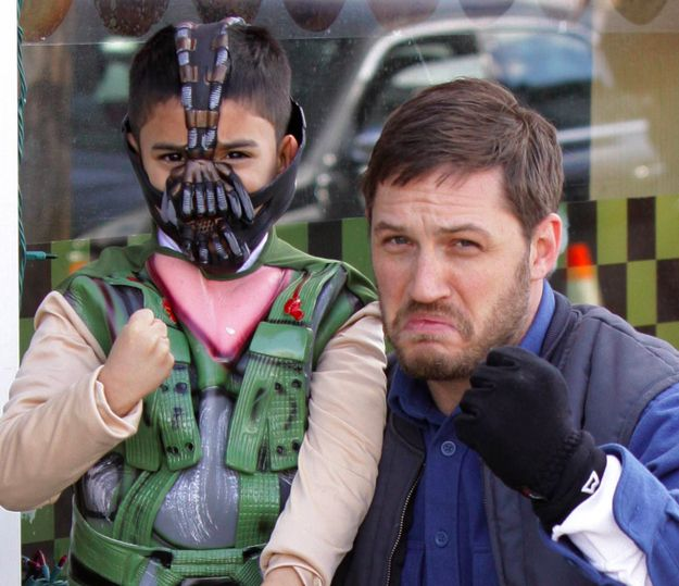 Tom Hardy with a baby Bane! How adorbs