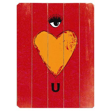 Eye Heart U Wood Sign