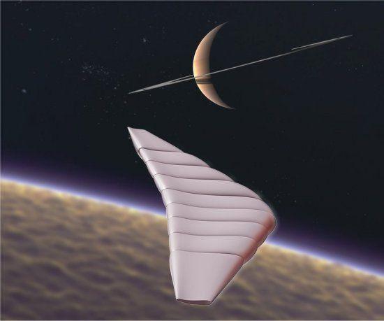 NASA anuncia robô aéreo flutuante para explorar Titã.  NASA anuncia robô aéreo flutuante para explorar Titã.   Conceito do veículo aéreo híbrido, misto de nave, avião e balão, que deverá explorar a atmosfera da lua Titã, de Saturno.[Imagem: GAC/NGAS] Aerobô A NASA deu sinal verde para o desenvolvimento de um novo veículo espacial destinado a explorar a lua Titã, de Saturno.