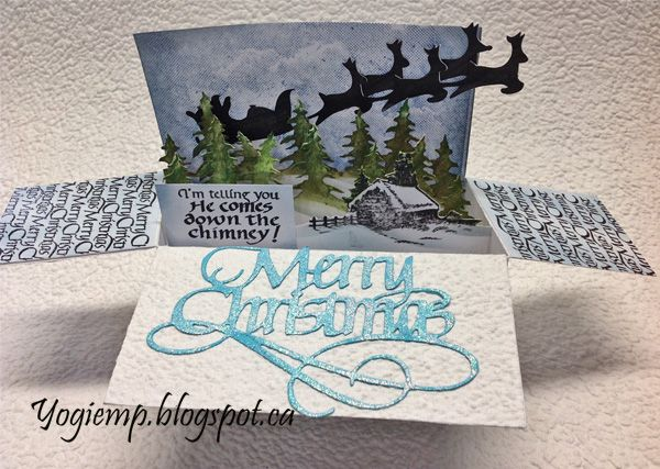 Card in a Box; #ElizabethCraftDesigns die Merry Christmas; #QuietfireDesign quote and background stamps and Electronic cut file available on Silhouette store; Emerald creek embossing powder; http://yogiemp.blogspot.ca/2017/12/mc-dec17-santa-card-in-box-ecd-merry.html