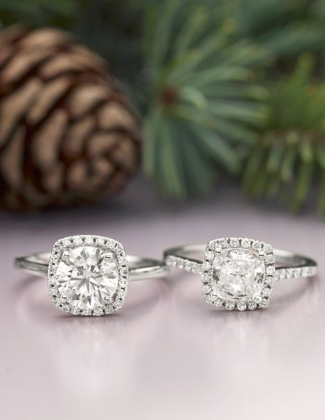 Halo settings feature a center gemstone completely encircled by smaller accent diamonds for a dazzling look. Choose your perfect halo engagement ring for the holidays! [Promotional Pin]