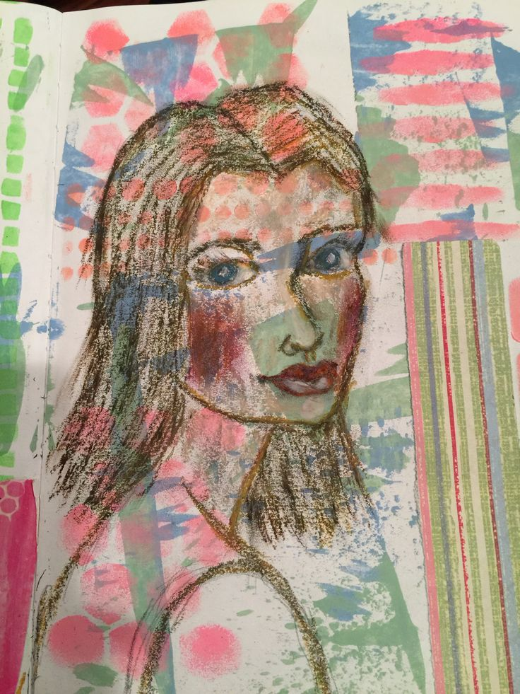 Collage with oil pastels by KatGale
