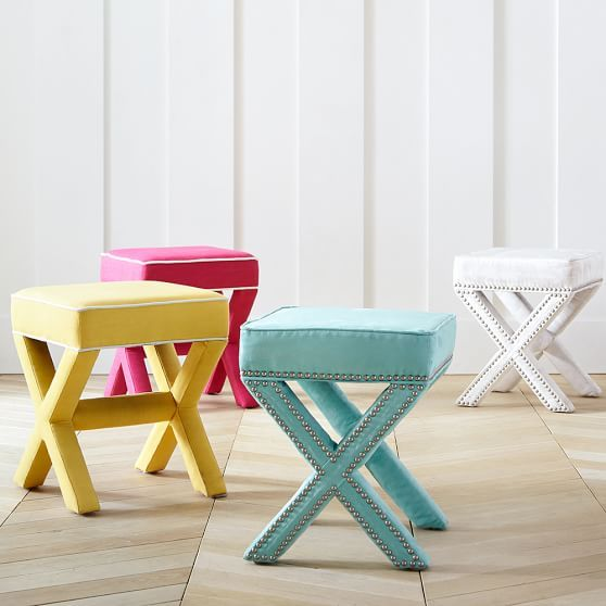 X-Frame Ottoman Stool // Use as a footrest, ottoman or extra seating. It also works well at the foot of the bed or in the bath as a great get-ready spot