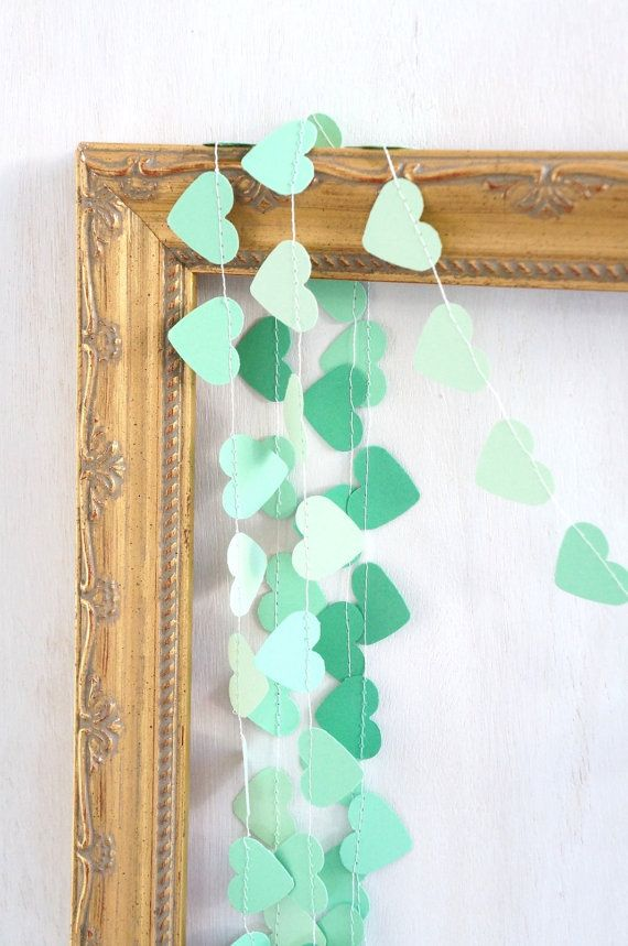 Sweetheart paper garland - 10 feet (3 metres) Ombre Mint green Emerald, engagement wedding party home decor on Etsy, $15.00