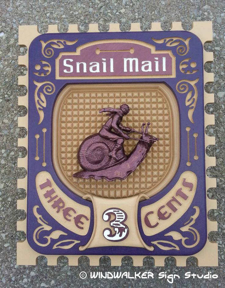Snail Mail. Sample sign for my Studio made with Extira. 2'x3'  Snail and rider hand sculpted.