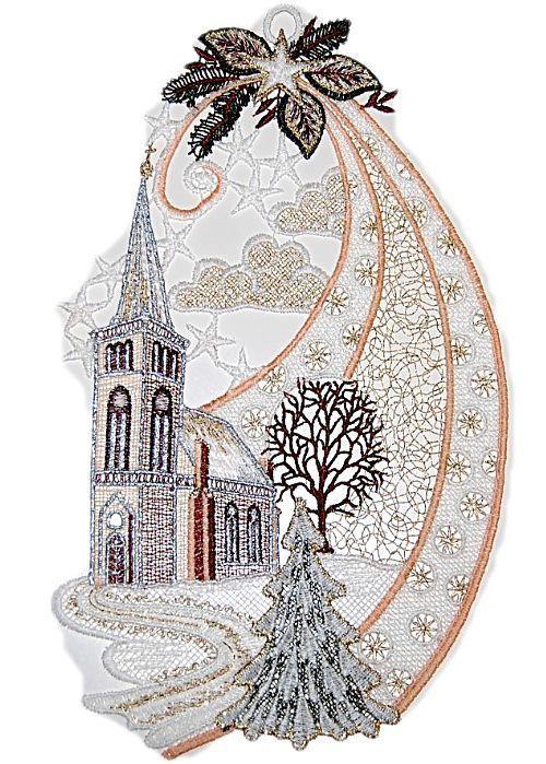 Fensterbild PLAUENER STICKEREI WEIHNACHTEN Aus Spitze Kirche Braun Gold 19x32 Cm In Mbel Wohnen