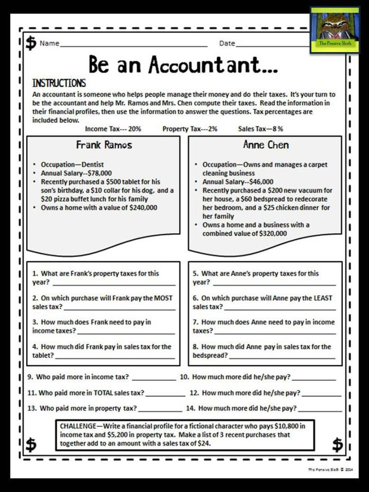 "5th grade personal financial literacy--""Be an accountant"" math/social studies activity where students learn about taxes and multiply to find the percent a fictional character would owe.  FREE at thepensivesloth.com --Great for teaching NEW Texas math TEKS!"