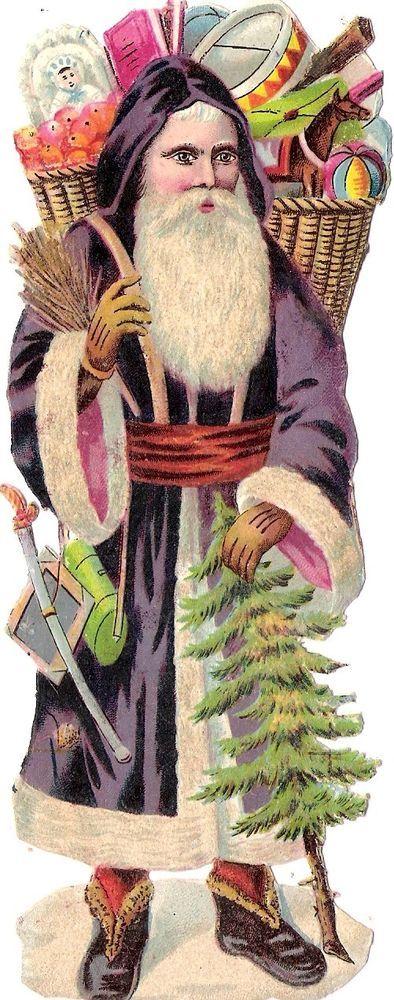 Oblaten Glanzbild scrap die cut chromo Nikolaus santa father XMAS pere noel MICA: