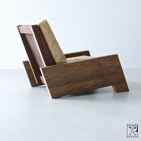 Armchair by Brazilian designer Carlos Motta made from recycled solid wood – Image 3