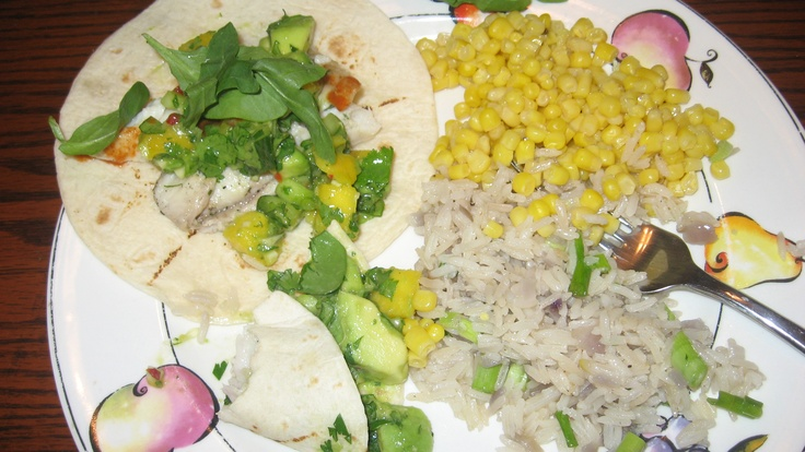 Grilled Tillapia Fish Tacos & Mango Salsa with Rice Pilaf and Sweet ...