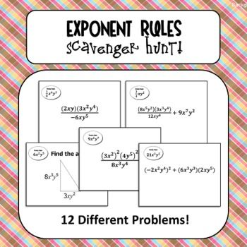 Exponent Rules Scavenger Hunt!  Students use their knowledge of product, power, and quotient rule to simplfy expressions as they move throughout the activity.