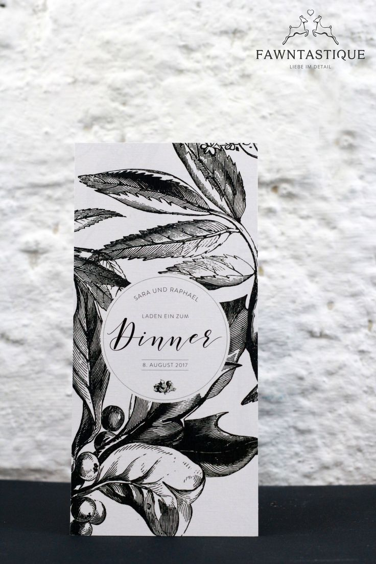 Black and White Dinner Invitation   lovely details and fine papers are the heart of this product