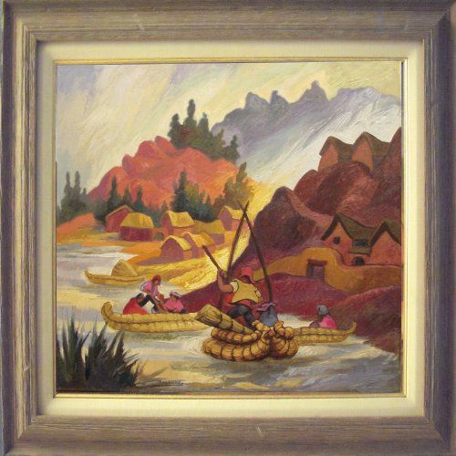"""Atardecer en el Titicaca"" by Peruvian painter Juan de la Cruz Machicado available at Columbine Gallery on Amazon Fine Art"