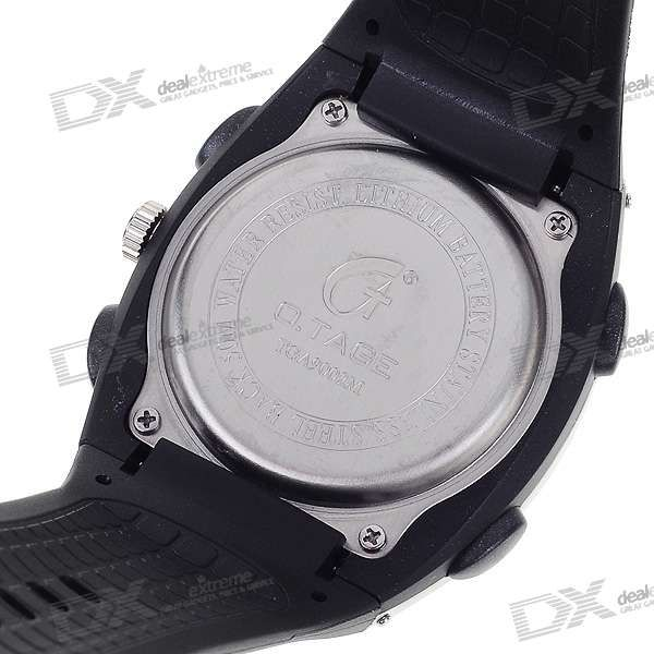 Sporty Water Resistant Dual Time Display Watch with EL Backlight (Black)