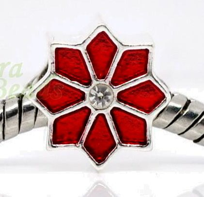 Win up to THREE ♥ Pointsettia ♥ Euro Charms ~Rhinestone Silver Plate~ *Fits Pandora* FREE US Ship - http://www.listia.com/auction/6459610