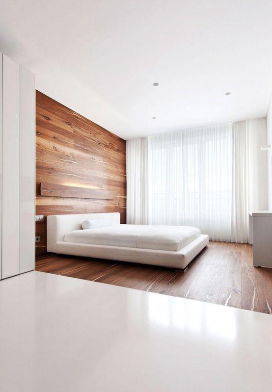 houten vloer loopt door op muur