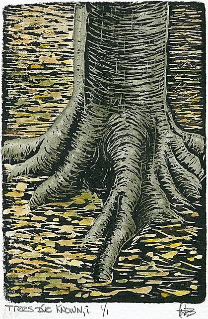 dailyartmasomenos ~ Trees I've known, i, 2008 (watercolored monoprint)