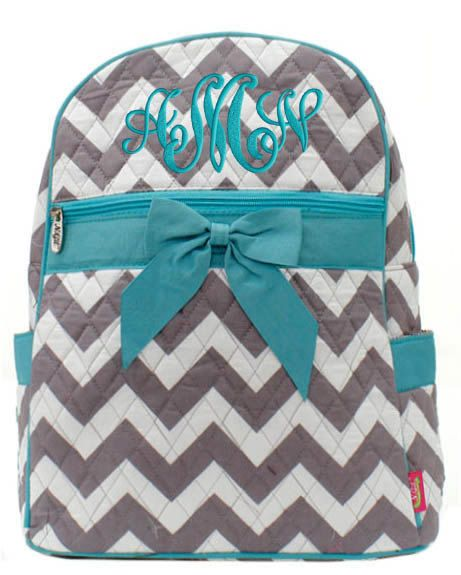 Personalized Backpack Chevron Gray Aqua Bookbag Quilted Monogrammed on Etsy, $33.99