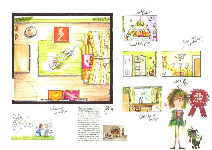 Plattegrond en aanzichten kinderkamer Floddertje met muurschildering door Ria Bernards, Ridesign
