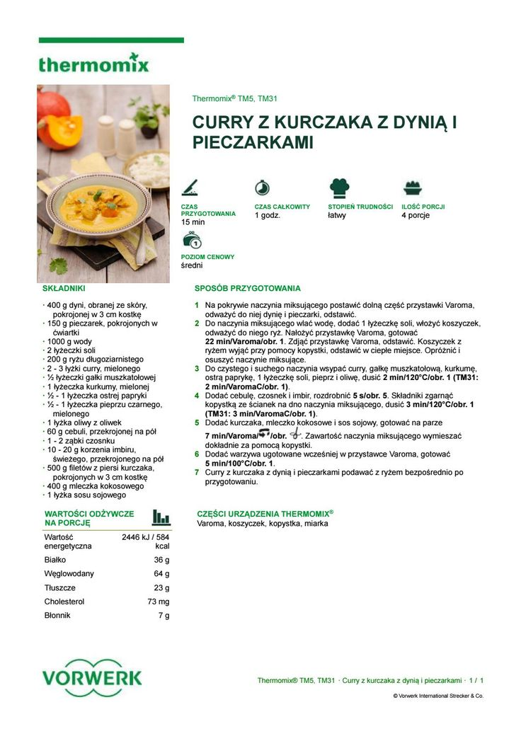 Curry z kurczaka z dyni i pieczarkami