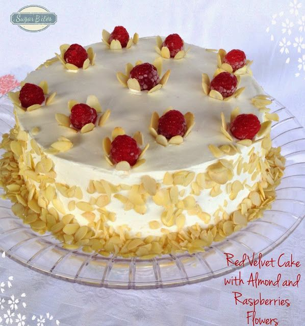 Sugar Bites: Red Velvet Cake com Flores de Amêndoa e Framboesas...