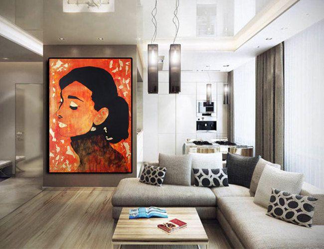 Audrey Hepburn Wall Art, Audrey Hepburn Canvas, Office Decor, Audrey Hepburn Art, Modern Painting, Large Painting, Home Decor, Huge Wall Art de la boutique KathleenProFineArt sur Etsy