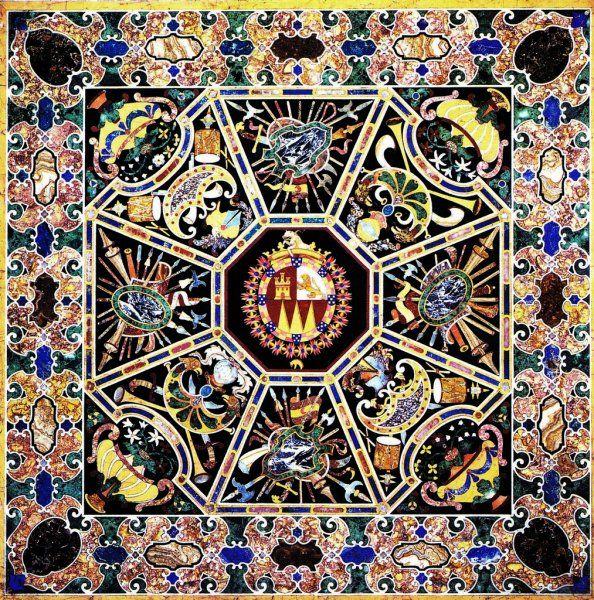 Manifattura granducale fiorentina - Piano di tavolo -  1614 - Materiali: marmi - Misure: 118 x 118 cm - Museo Nacional del Prado, Madrid - Genere: arti applicate - Cultura: manierismo