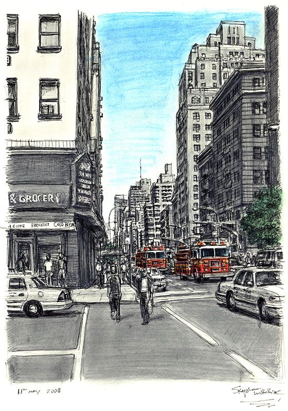 New York street scene with Fire Engines - drawings and ...