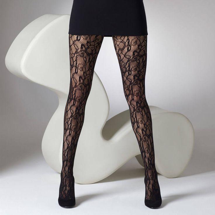 Collant dentelle à fleur noir >> http://www.lesjoliesgambettes.fr/boutique/25-collant #collant #collantfantaisie #tights #gipsy #gambettes #hiver #mode
