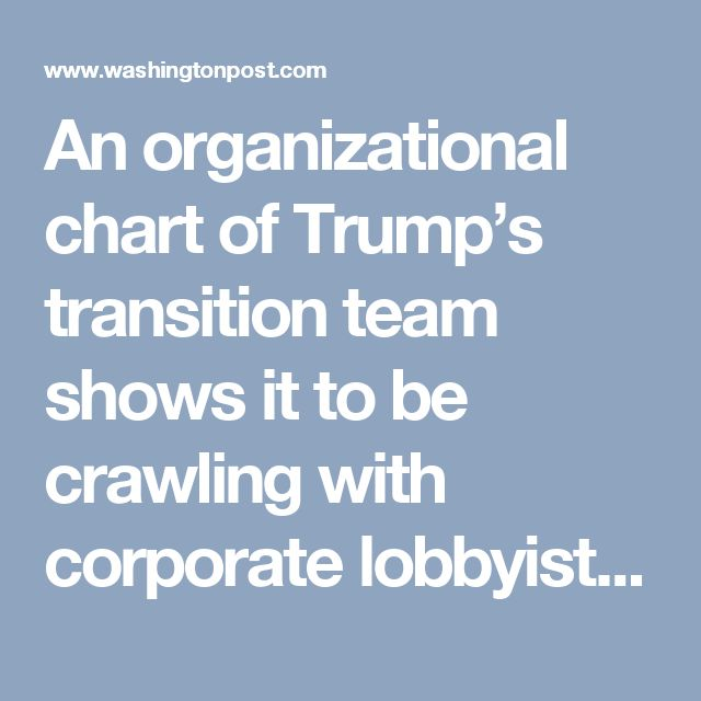 An organizational chart of Trump's transition team shows it to be crawling with corporate lobbyists, representing such clients as Altria, Visa, Coca-Cola, General Electric, Verizon, HSBC, Pfizer, Dow Chemical, and Duke Energy. And K Street is positively salivating over all the new opportunities they'll have to deliver goodies to their clients in the Trump era. Who could possibly have predicted such a thing? The answer is, anyone who was paying attention. Look at the people Trump is…