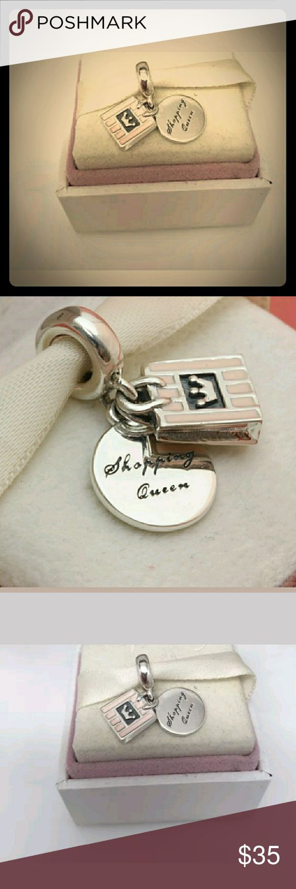 Pandora Shopping Queen Pink Enamel Dangle Charm/NW Pandora Shopping Queen Pink Enamel Dangle Charm Stamped/Ale/s925 Solid Sterling Silver/NWT Pandora Jewelry Bracelets
