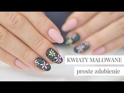 Kwiaty Malowane Prosty Beżowo Czarny Manicure Hybrydowy