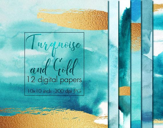 Turquoise And Gold Watercolor Digital Paper Watercolor Texture
