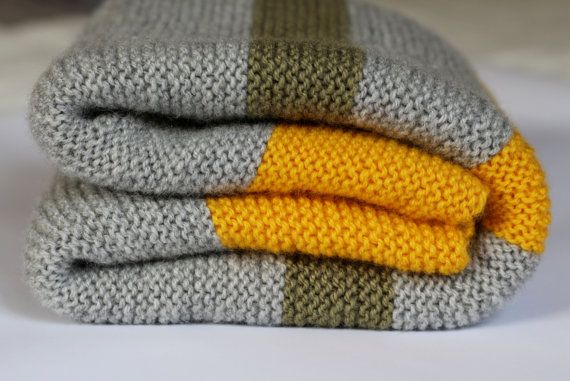 Knitted Baby Blanket Grey and Yellow