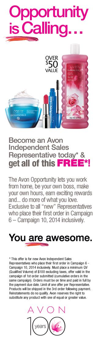"""Become an Avon Independant Sales Representative, place your first order and receive all this products free! When it Asks for a SPONSOR, click """"I Know an Avon  Sponsor"""" and enter my name: Ope Odugbemi Phone Number: 647-993-9424 Email address: avonwithope@gmail.com"""