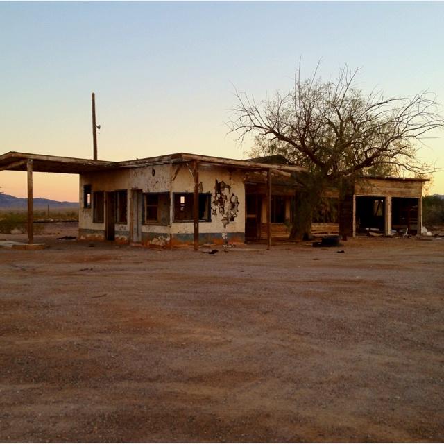Abandoned gas station/future movie set