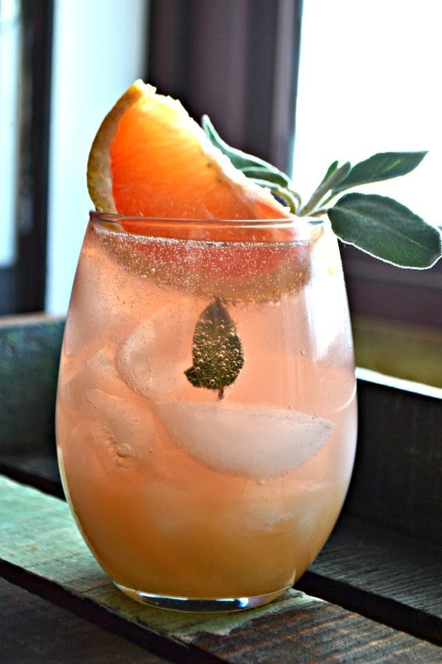 Grapefruit and sage mimosa